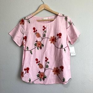 Tops - 🔴Light Pink Floral Embroidered Top